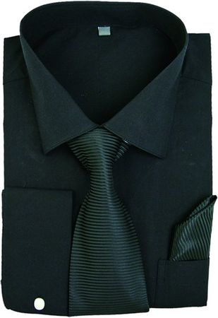 Men's Black French Cuff Dress Shirt Spread Collar Tie Set SG27