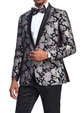 Men's Black Lavender Gold Slim Fit Floral Prom Jacket Matching Bow Tie Tazio MJ337S-1