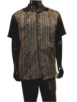 Men's Black Linen Gold Lace Front Outfit Successo 3354SP
