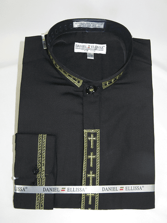 Men's Black Mandarin Collar Shirt with Gold Cross Embroidery DS2005C