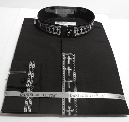 Men's Black Mandarin Collar Shirt with White Cross Embroidery DS2005C