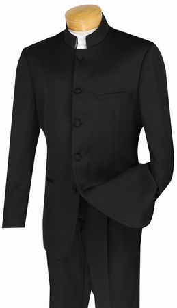 Men's Black Mandarin Collar Suit 5 Button Jacket Vinci 5HT
