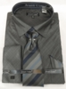 Men's Black Sharkskin French Cuff Dress Shirt Tie Combo DN82
