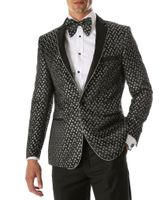 Men's Black Silver Slim Fit Performer Tuxedo Jacket Ferrecci Pronto