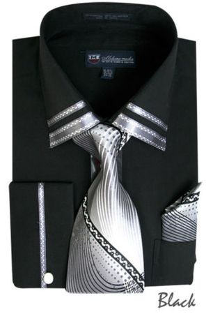 Men's Black Trim Collar Dress Shirt Matching Tie Set SG28