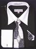 Men's Black White Collar French Cuff Dress Shirt Tie Set DS3006WTPRT