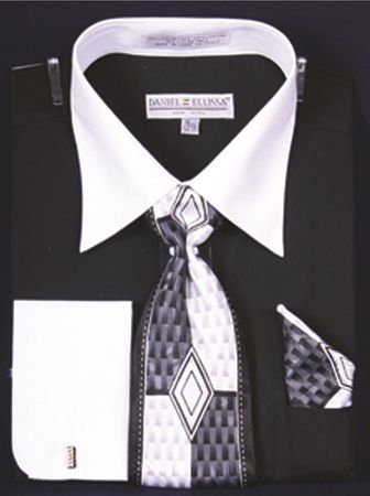 Men's Black White Collar French Cuff Dress Shirt Tie Set DS3006WTPRT - click to enlarge