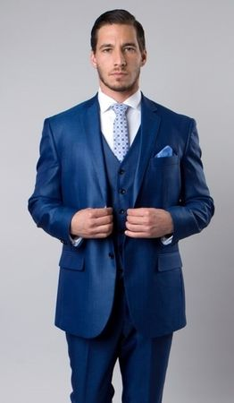 Men's French Blue 3 Piece Italian Style Suit Textured Solid Tazio M158-11