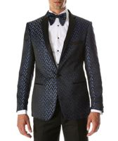 Men's Blue Black Slim Fit Performer Tuxedo Jacket Ferrecci Pronto