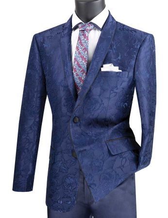 Men's Blue Floral Blazer Jacket Prom Shawl Collar Vinci BSF-10
