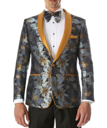Men's Blue Floral Slim Fit Prom Tuxedo Blazer Ferrecci Hugo - click to enlarge