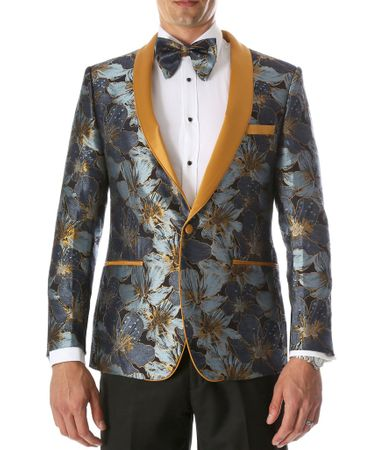 Men's Blue Floral Slim Fit Prom Tuxedo Blazer Ferrecci Hugo