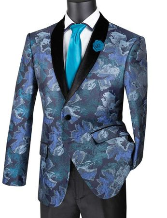 Men's Blue Floral Tuxedo Jacket Prom Round Collar Vinci BSF-11