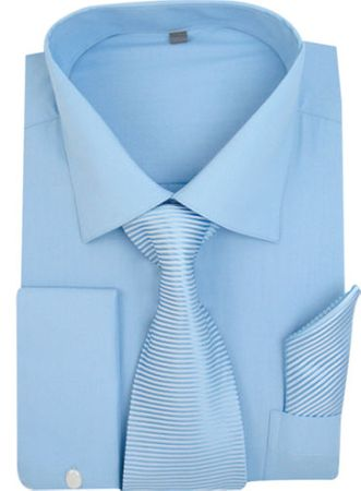 Men's Blue French Cuff Dress Shirt Spread Collar Tie Set SG27
