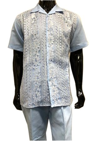 Men's Light Blue Linen Gold Lace Front Outfit Successo 3354SP