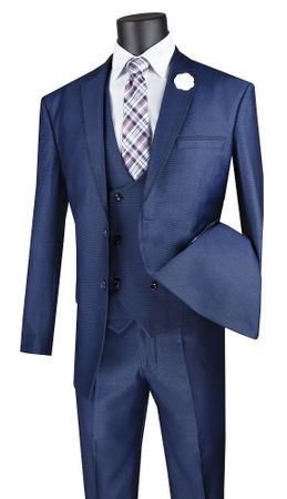 Men's Blue Modern Fit 3 Piece Fashion Suit Vinci MV2B-1