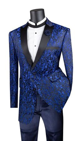 Men's Blue Paisley Tuxedo Jacket Black Lapels Vinci BF-2