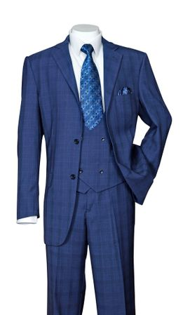 Men's Blue Plaid 3 Piece Fashion Suit Scoop Vest Milano 5702V6