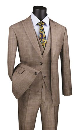 Men's Tan Plaid Modern Fit 3 Piece Fashion Suit Vinci MV2W-1