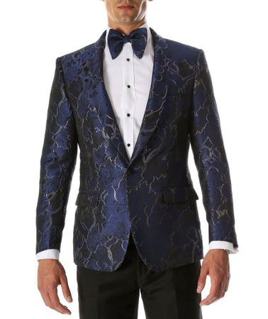 Men's Blue Swirl Fitted Prom Blazer Ferrecci Romi - click to enlarge