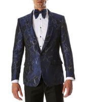Men's Blue Swirl Fitted Prom Blazer Ferrecci Romi