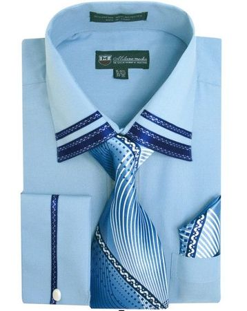 Men's Blue Trim Collar Dress Shirt Matching Tie Set SG28