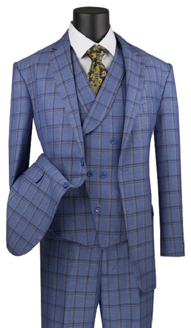 VINCI Mens Window Pane 2 Button Single Breasted Classic Fit Wool Feel Suit W//Vest V2RW-15