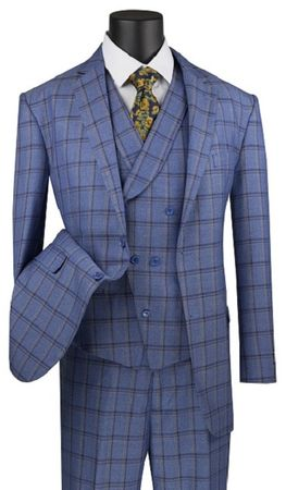 Men's Blue Windowpane Plaid 3 Piece Suit Vinci V2RW-12