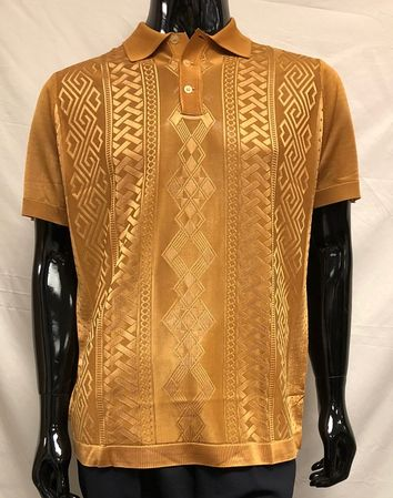 Men's Bronze Shiny Knit 1960s Style Polo Shirt Pronti K6414 Size  2XL - click to enlarge