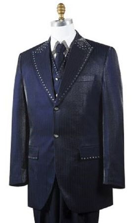 Canto Mens Navy Sharkskin Rhinestone 3 Pc. Entertainer Suit 8379 Size 38R Final Sale