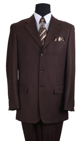 Men's Brown Classic 3 Button Wool Feel Business Suit Milano 5802M