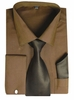 Men's Brown French Cuff Dress Shirt Spread Collar Tie Set SG27