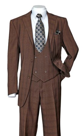 Men's Brown Plaid 3 Piece Fashion Suit Scoop Vest Milano 5702V6