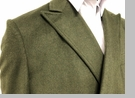 Men's Double Breasted Wool Cashmere Coat Knee Length Green Alberto Manhattan IS