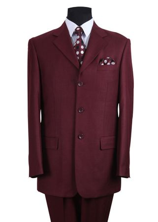 Men's Burgundy Classic 3 Button Wool Feel Business Suit Milano 5802M