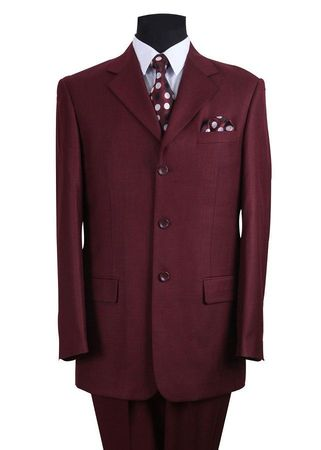 Men's Burgundy Heather 3 Button Wool Feel Business Suit Milano 5802M