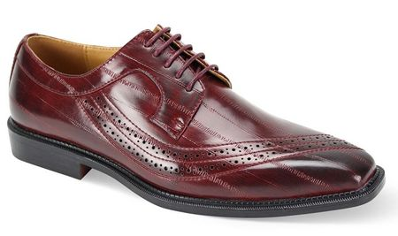 Men's Burgundy Eel Print Italian Style Dress Shoes Antonio Cerrelli 6780