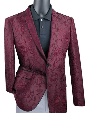 Men's Burgundy Floral Blazer Jacket Prom Shawl Collar Vinci BSF-10