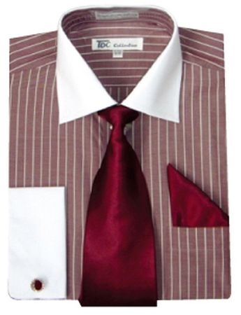 Men's Burgundy Stripe White Collar French Cuff Dress Shirt Tie SG17