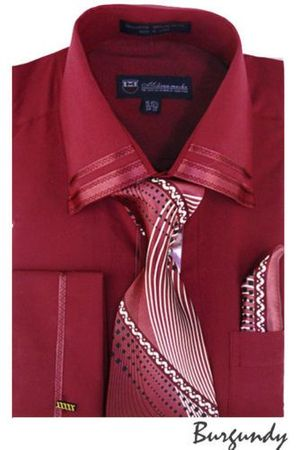 Men's Burgundy Trim Collar Dress Shirt Matching Tie Set SG28