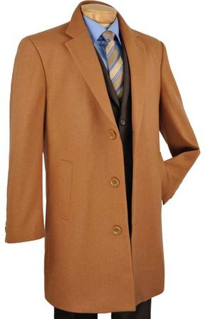 Men's Camel Wool Knee Length Overcoat Vinci CS38-1 - click to enlarge
