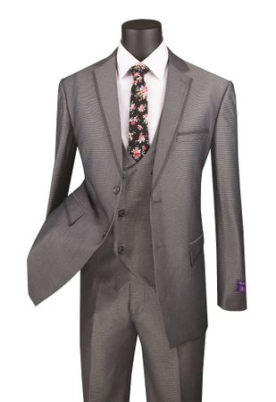 Men's Charcoal Gray Modern Fit 3 Piece Fashion Suit Vinci MV2B-1