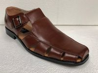 Men's Cognac Brown Dress Sandals Closed Toe 33289