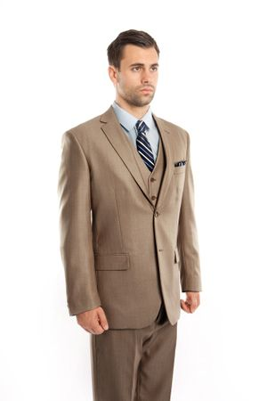 Men's Dark Tan 3 Piece Italian Style Suit Textured Solid Tazio M158-09
