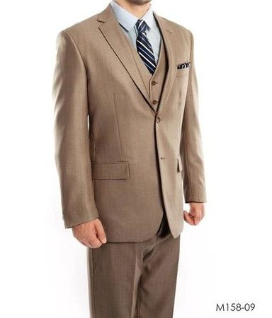 Men's Dark Tan 3 Piece Modern Fit Suit Textured Solid Tazio M158-09