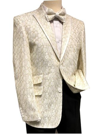 Mens Cream Floral Modern Fit Blazer Entertainer Jacket After Midnight 8032-906