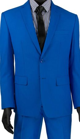 French Blue Slim Fit Suit Men's 2 Button Vinci SC900-12 - click to enlarge