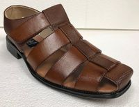 Men's Dress Sandals Cognac Brown Closed Toe 33216