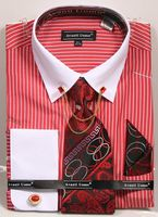 Men's Dress Shirt Tie Combo Red Stripes Collar Chain DN77M