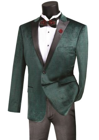 Men's Emerald Green Plaid Velvet Tuxedo Blazer Vinci BS-14 - click to enlarge